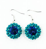 SWAROVSKI® Rivoli Bezel Earrings Kit with SuperDuo Beads Petrol and Turquoise